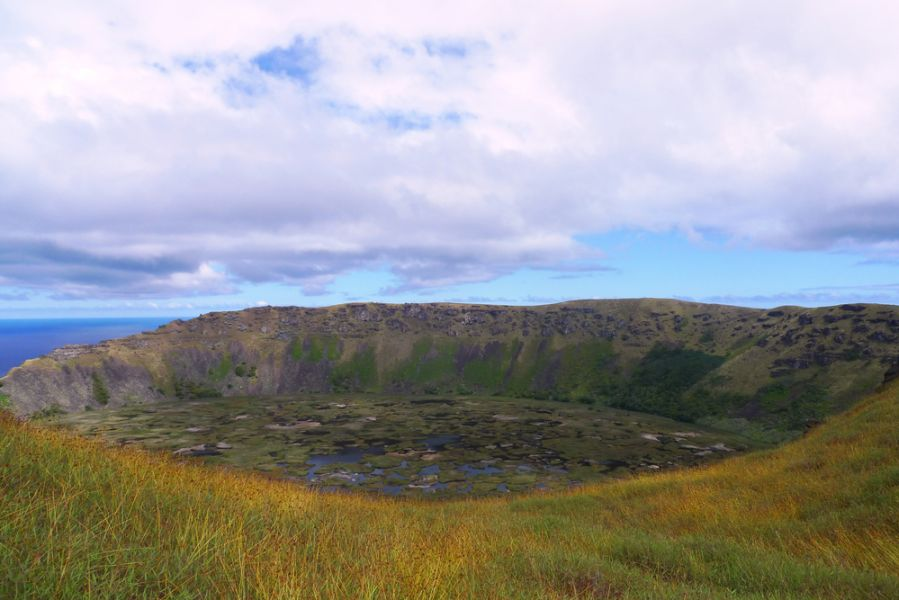 Easter Island CE0Y/W7YAQ Tourist attractions spot Rano Kau volcano crater.