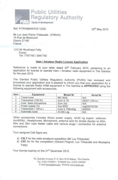 Gambia C5LT C5C Amateur Radio License