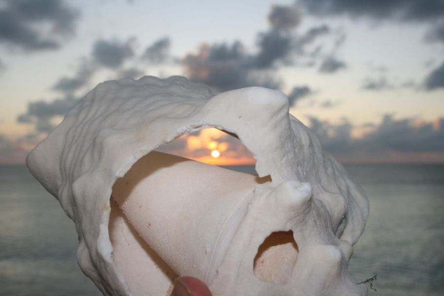 Grand Turk Island Turks and Caicos VP5/VE7ACN Tourist attractions spot Sunset in a sea shell.