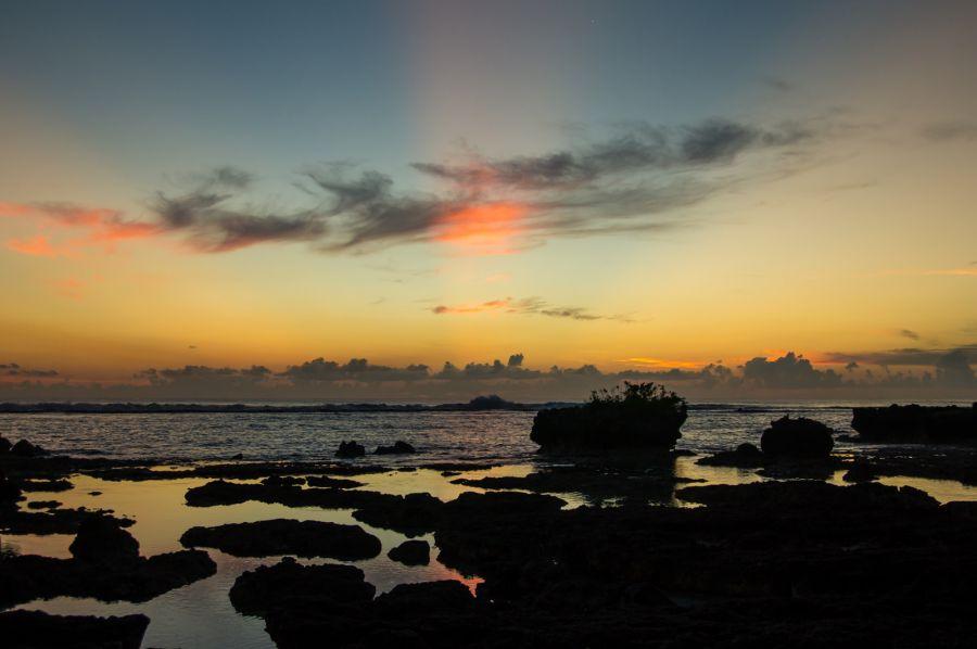 Guam Island AH2EG Sunrise Big waves.