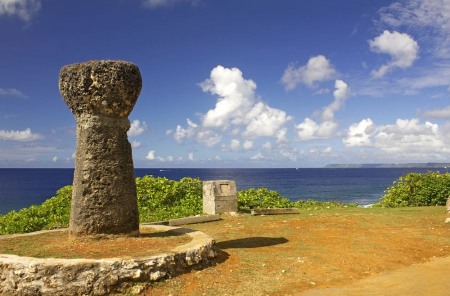 Guam Island KG2A/KH2 DX News Ancient Latte stones overlooking the ocean