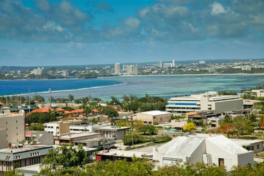 Guam Island KH2/F4HEC � birds eye view of Guam.
