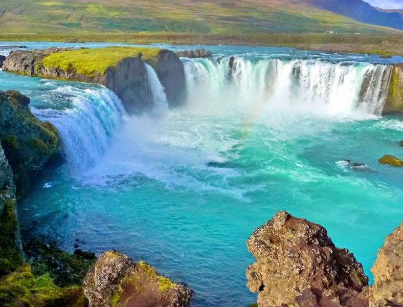 Iceland TF/DF8AN Blue wide river with waterfall.