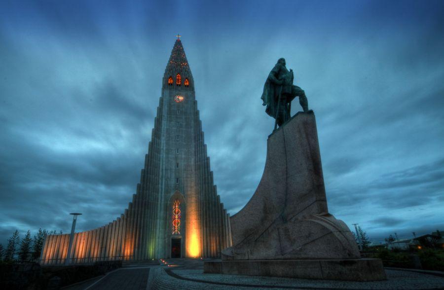 Iceland TF3WK Tourist attractions spot Hallgrímskirkja. Reykjavik.