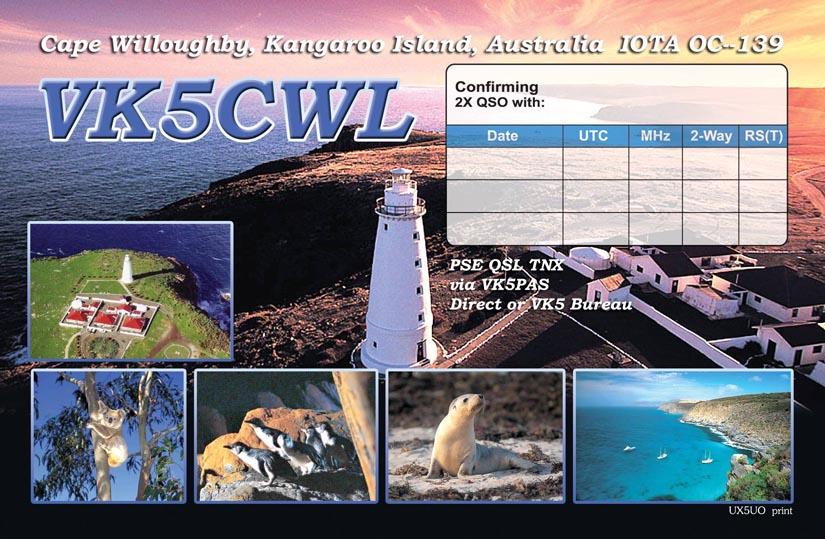 Остров Кенгуру VK5CWL Обратная часть VK5CWL QSL.