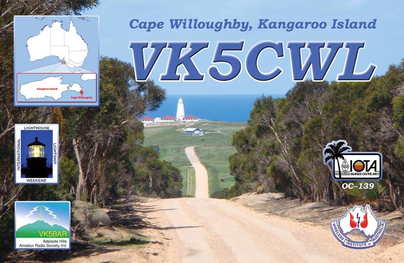 Kangaroo Island VK5CWL Front side of VK5CWL QSL.