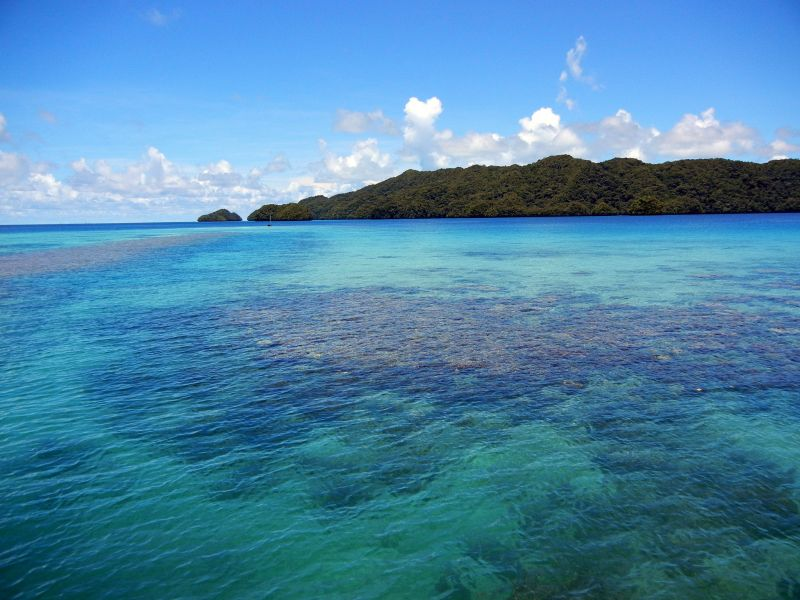Koror Island Palau T88FG DX News Colored sea.