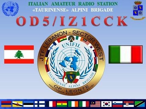 Ливан OD5/IZ1CCK QSL
