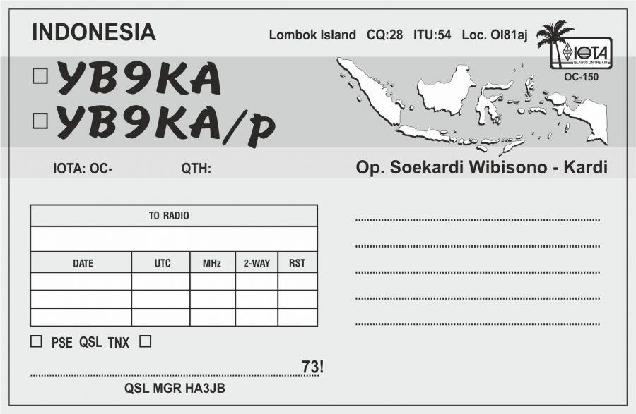 Остров Ломбок YB9KA QSL