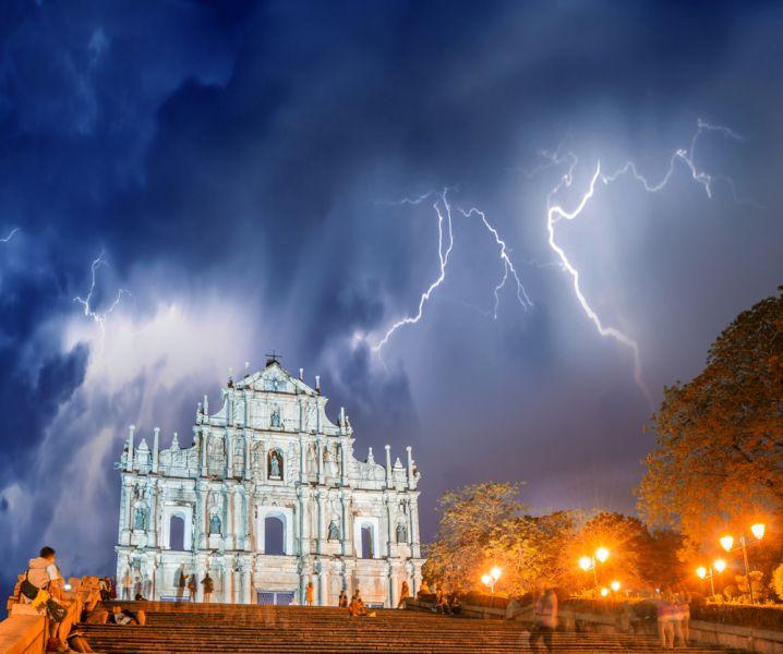 Macau XX9TIH XX9TUD Tourist attractions spot Ruined church of St Paul in Macau.