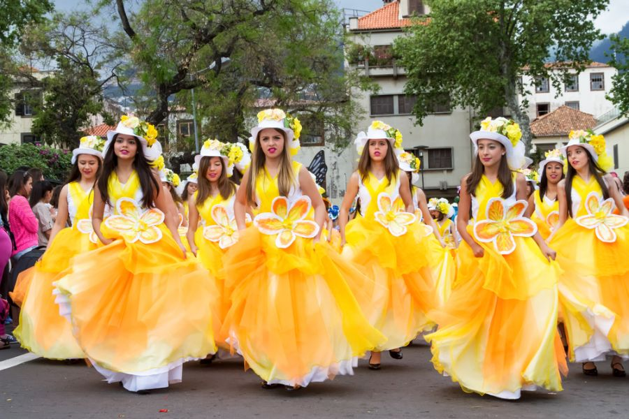 Madeira Island CR3OO DX News Young girls dancing in the Madeira Flower Festival.