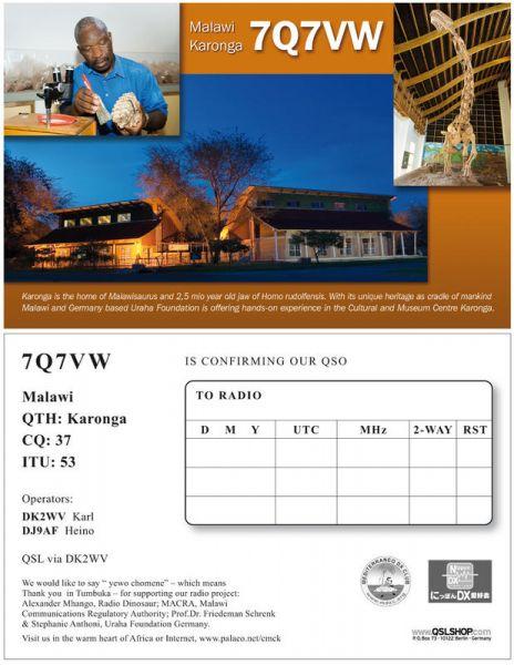 Malawi 7Q7VW QSL