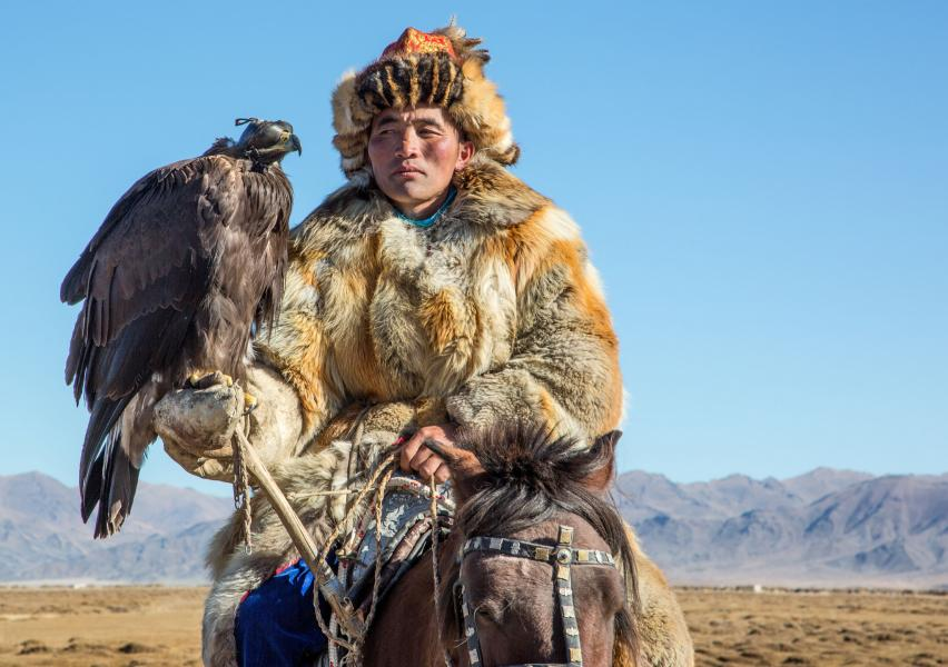 Mongolia JT5NH Traditional Kazakh eagle trainer.