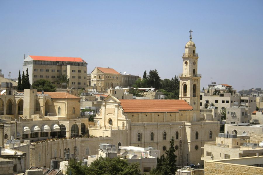Palestine E44QX E44HP DX News Church tower Bethlehem.