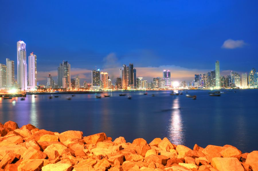 Panama HO2C Panama City, city center skyline and Bay of Panama.