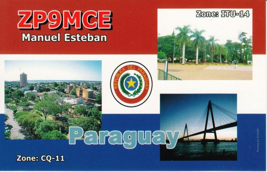Paraguay ZP9MCE QSL