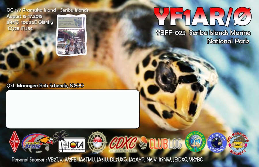 Pramuka Island YF1AR/0 Seribu Islands QSL Back side
