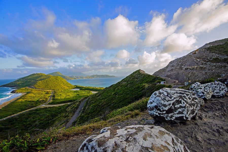 Saint Kitts Island V47KA DX News Looking out at the southern peninsula of Saint Kitts.