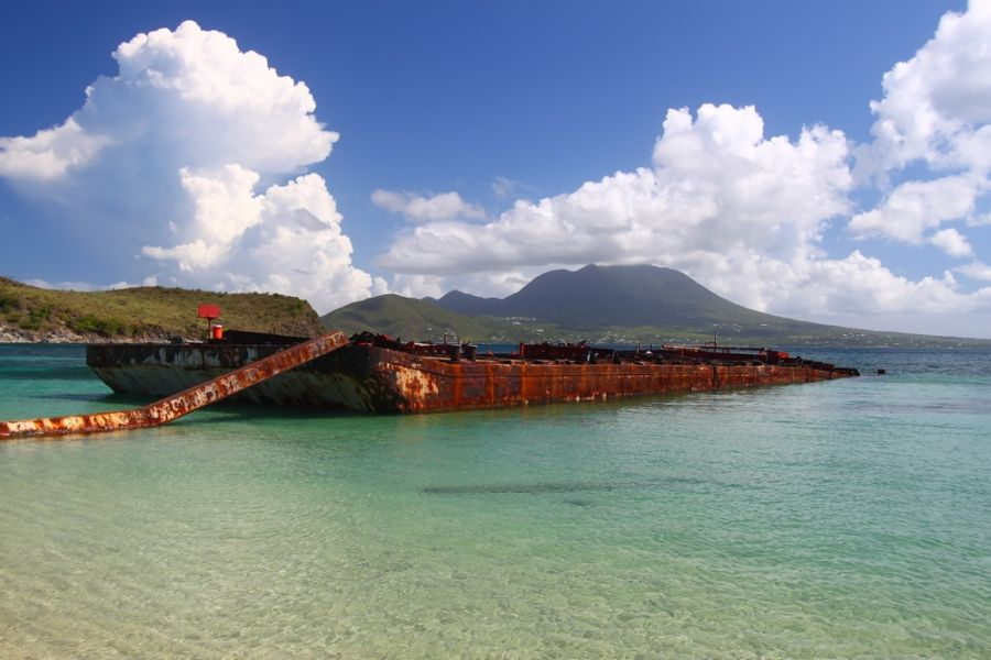 Saint Kitts Island V47TR DX News A wrecked barge.