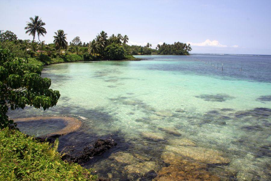 Самоа 5W0XG Деревья и пляж на острове Уполу.