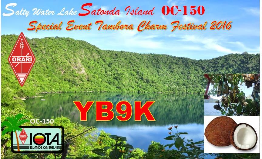 Satonda Island YB9K Tambora Charm Festival 2016 QSL
