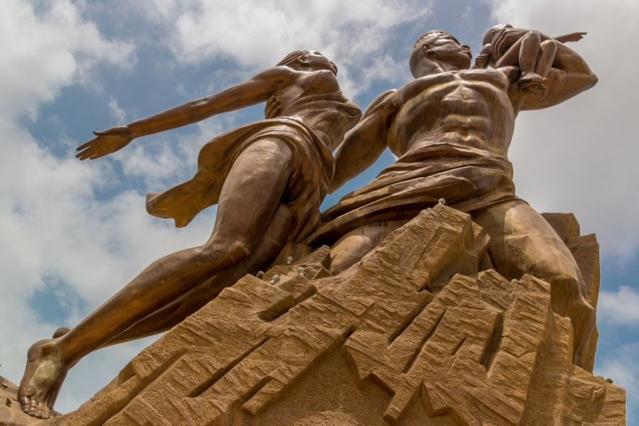 Senegal 6W7/F5NHJ Tourist attractions spot African Renaissance Monument, a 49 meter tall bronze statue of a man, woman and child, in Dakar.