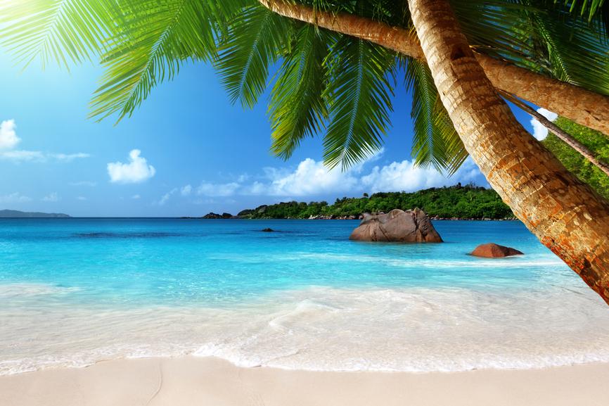 Seychelles Islands S79LCA Anse Lazio beach at Praslin island, Seychelles