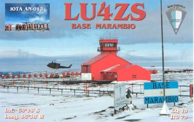 Base Marambio Seymor Island Antarctica LU4ZS QSL.