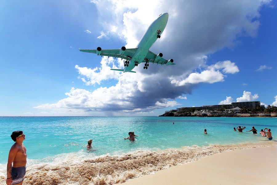 Остров Сен Мартен PJ7/G4JEC PJ7/K0HAC Посадка над пляжем Махо