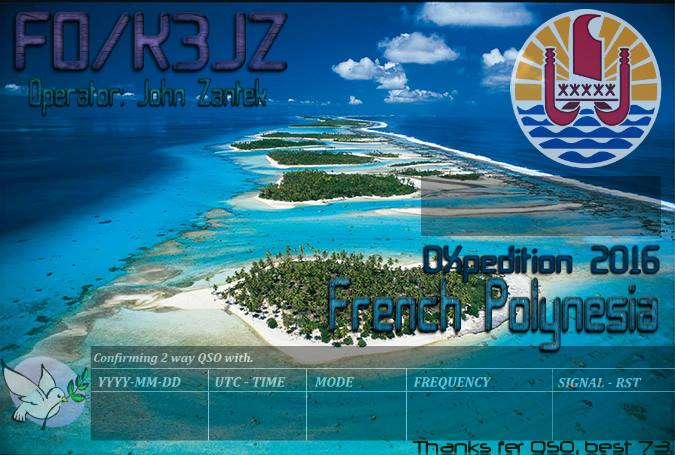 Society Islands French Polynesia FO/K3JZ FO/N7SOF DX News QSL 1