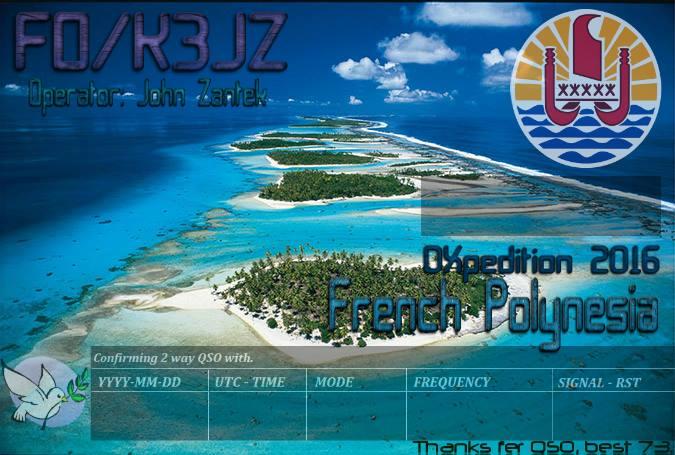 Остров Общества Французская Полинезия FO/K3JZ FO/N7SOF DX Новости QSL 1
