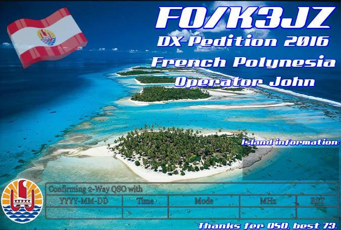 Острова Общества Французская Полинезия FO/K3JZ FO/N7SOF QSL 2