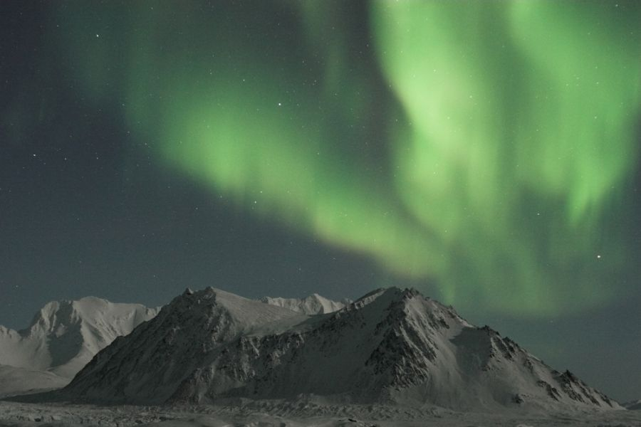 Spitsbergen Island JW3TR Natural phenomenon of Northern Lights.