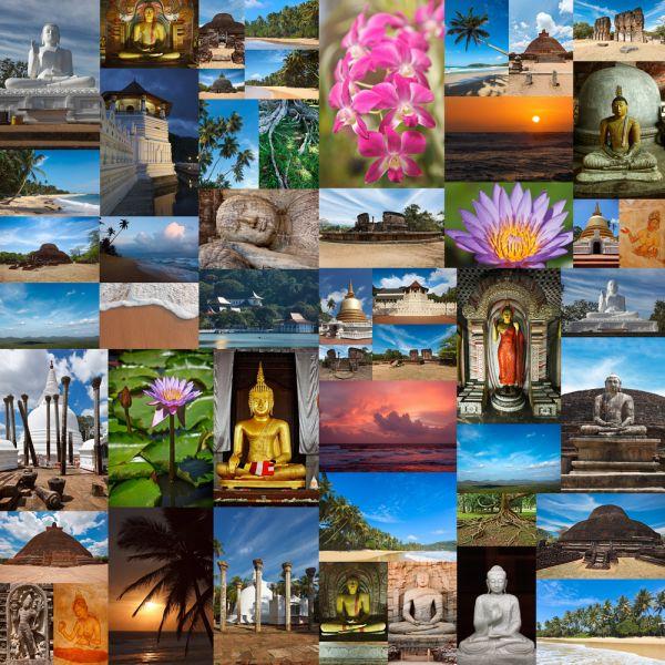 Шри Ланка 4S77JTO 4S7NTS Туристические достопримечательности Фото коллаж.
