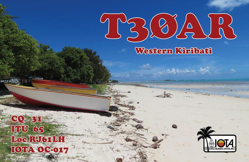 Остров Тарава Острова Гилберта Кирибати T30AR QSL