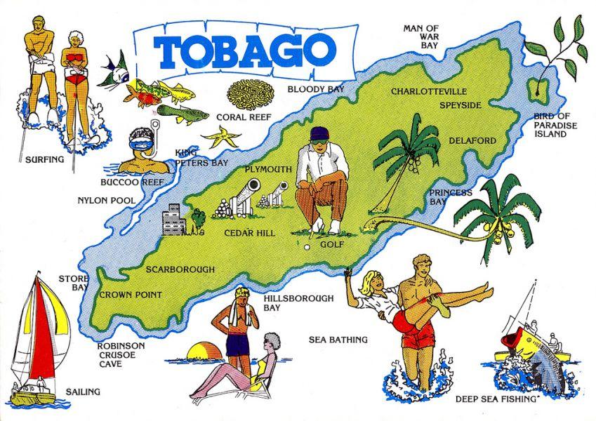 Остров Тобаго 9Y/K2HVN Туристические достопримечательности Туристическая карта.