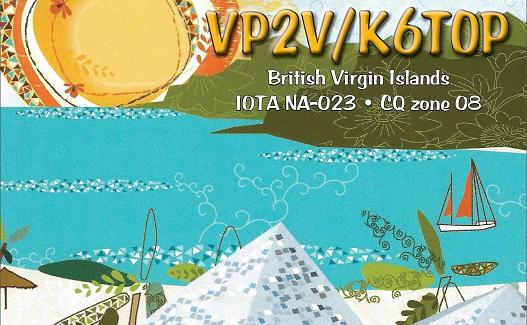 Tortola Island British Virgin Island VP2V/K6TOP QSL