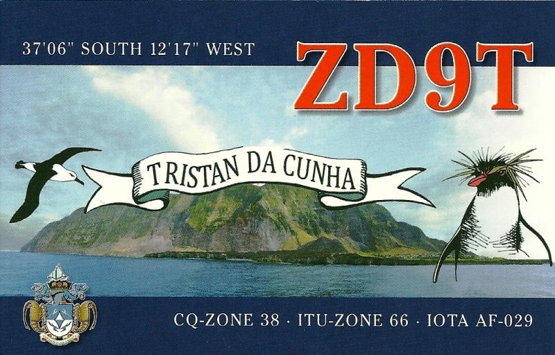Остров Тристан да Кунья ZD9T QSL