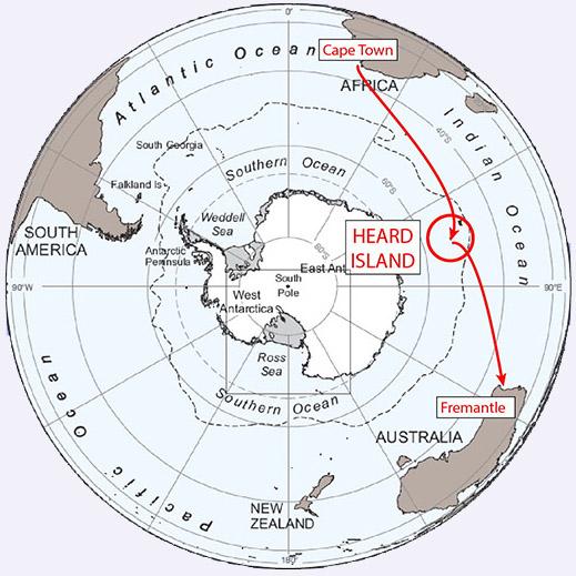 VK0EK Heard Island DX Pedition Trip Map