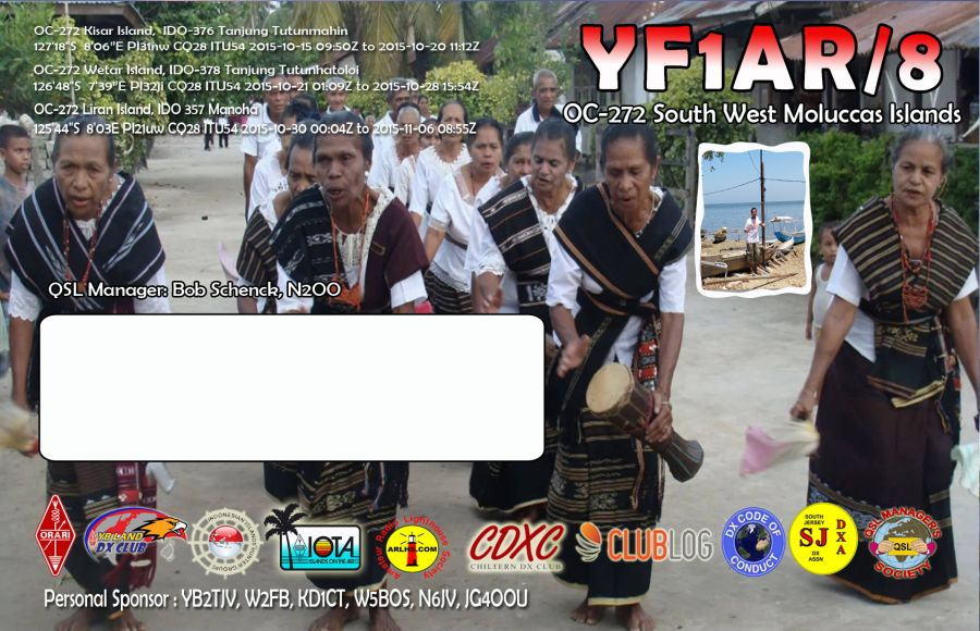 South West Moluccas Islands YF1AR/8 QSL Card