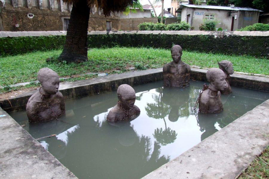 Zanzibar Unguja Island 5H1XX Tourist attractions spot Slave Statues.