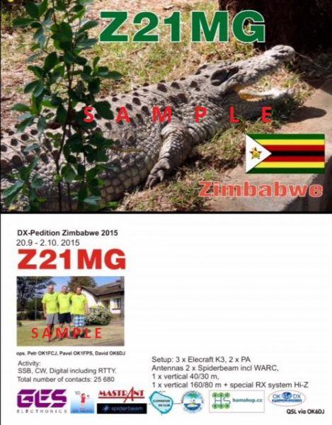 Zimbabwe Z21MG QSL Sample