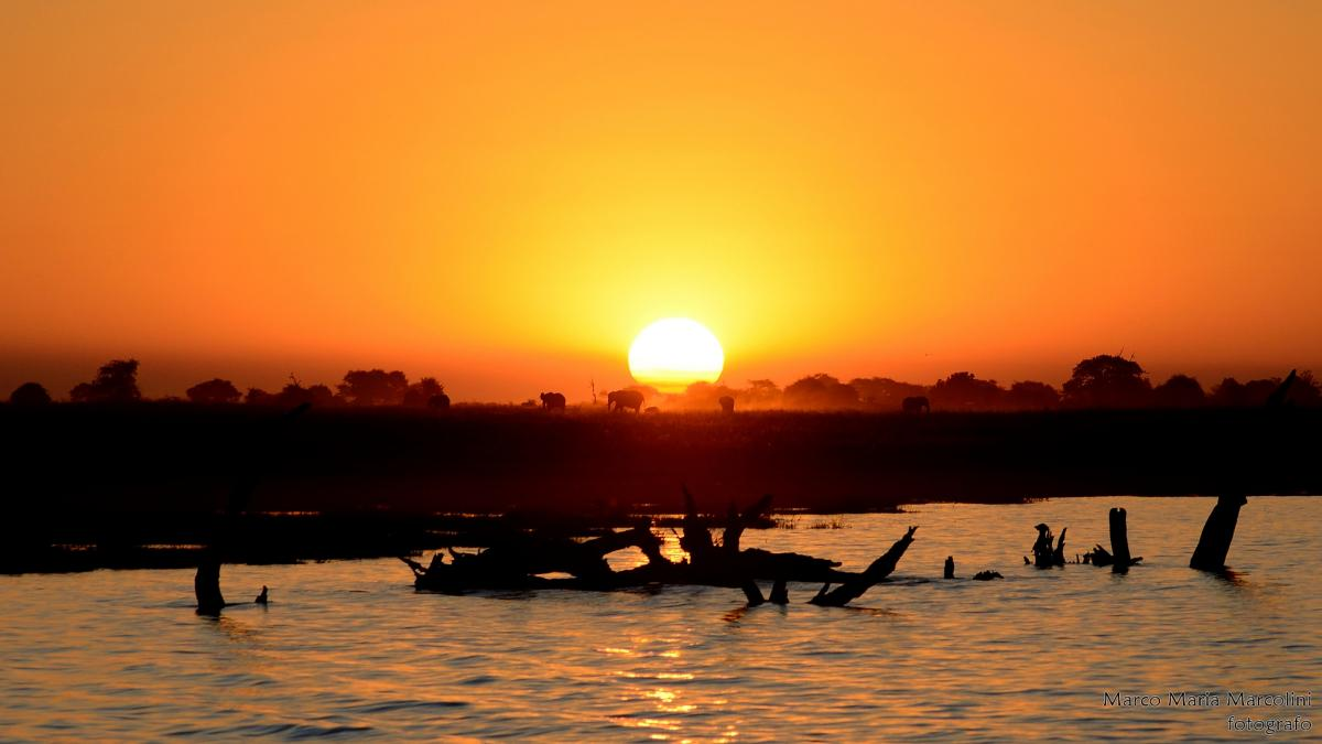 A21TX Sunset, Chobe River, Botswana. Tourist attractions spot