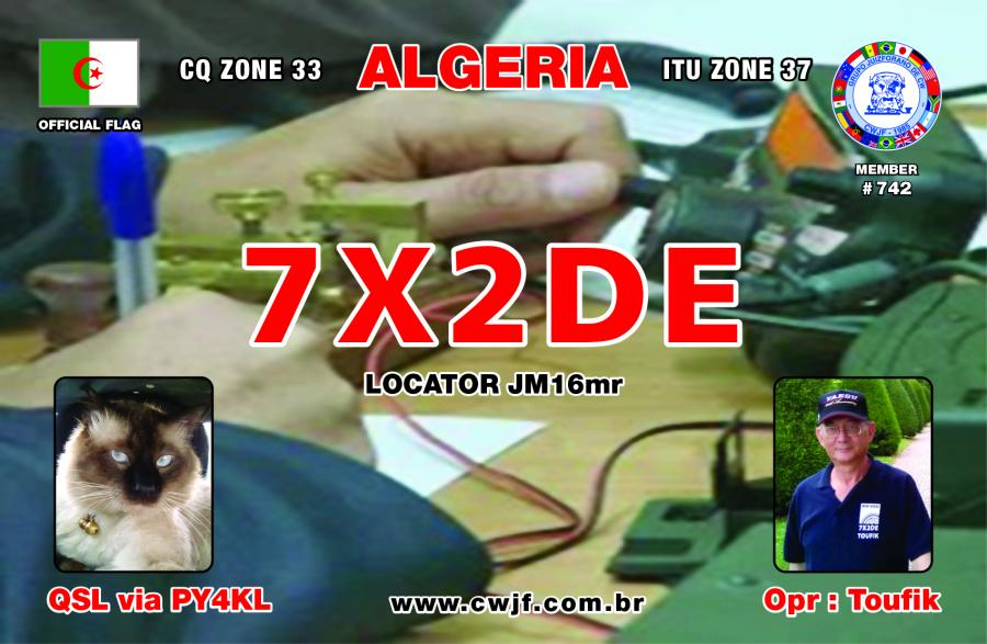 Algeria 7X2DE CQ MM DX Contest QSL