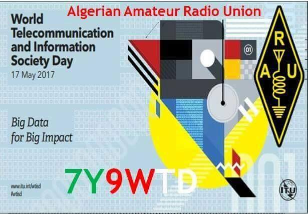 Algeria 7Y9WTD World Telecommunication Day. Special Amateur Radio Station Logo.