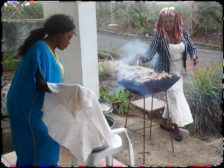 Alida cooking fish Annobon Island