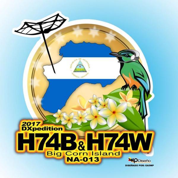 Остров Биг Корн H74B H74W IOTA DX Экспедиция Логотип