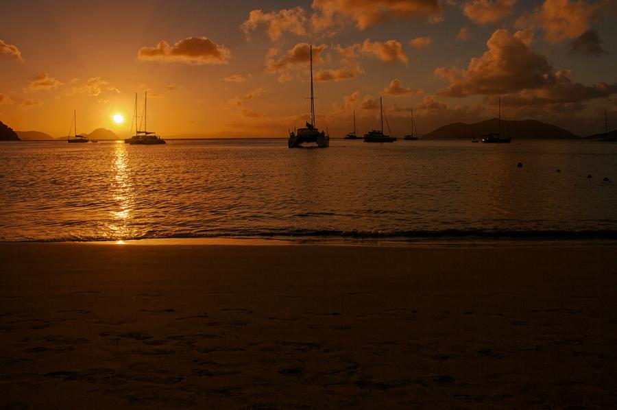 British Virgin Islands VP2V/K2WH Tourist attractions spot Sunset, Cane Garden Bay.