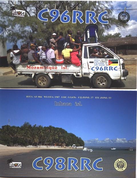 C96RRC C98RRC Mozambique Island Inhaca Island IOTA QSL Card