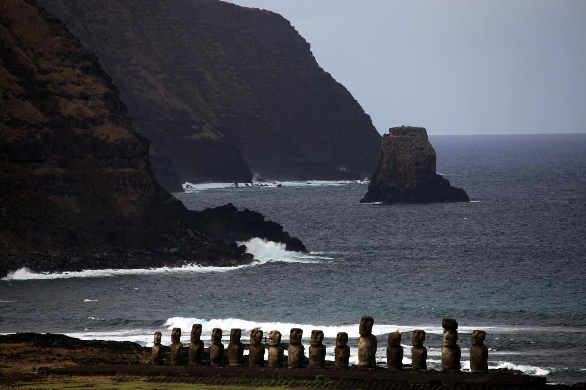 CE0Y/NP4G Ahu Tongariki, Easter Island. Tourist attractions spot